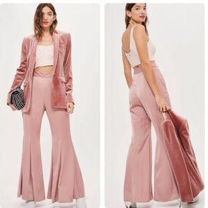 Topshop super flare satin trousers 4 mauve/pink